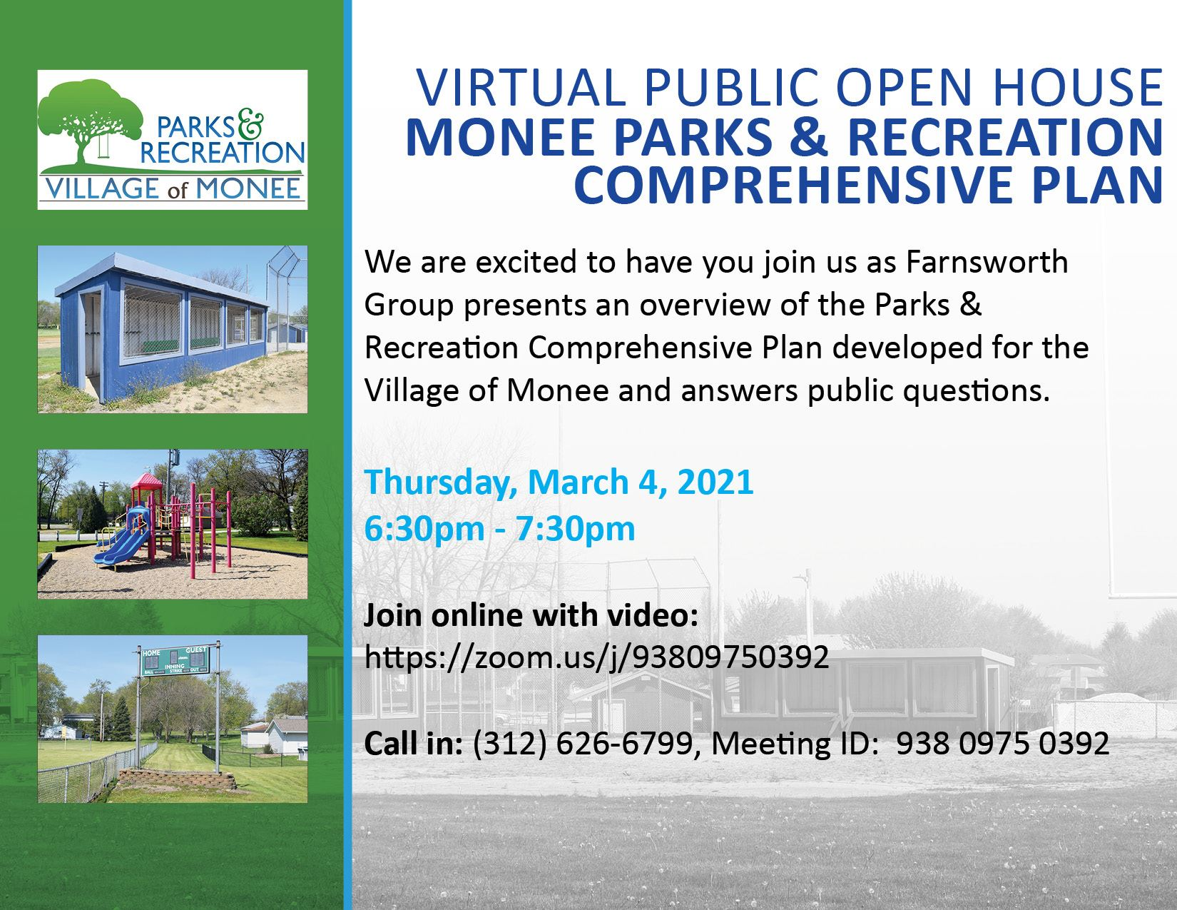 Monee Parks and Recreation Comp Plan Virtual Open House