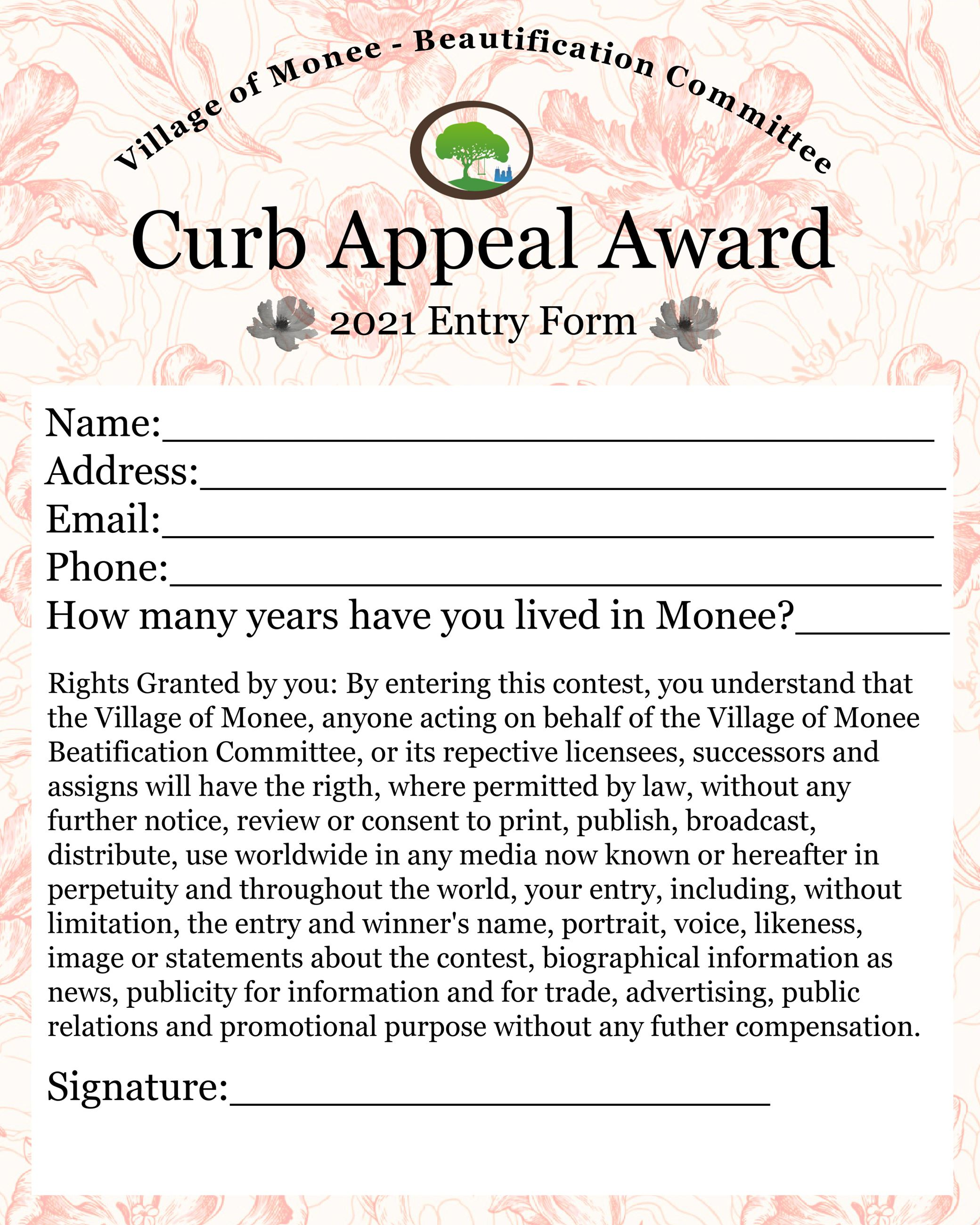 2021 Curb Appeal entry form
